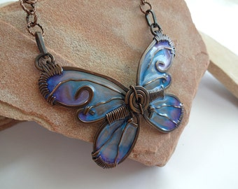 Wire Wrapped Copper & Handmade Resin Butterfly Necklace