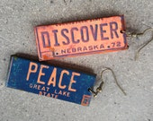 LICENSE PLATE EARRINGS - Make a Statement - Lightweight earrings - Great Gift! (L-24)