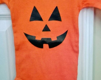 Long or short sleeve Jack O' Lantern onesie