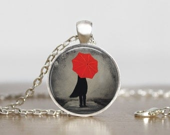 Girl with a Red Umbrella pendant. Gift for Her. Comes as a necklace or keychain.