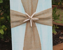 Beach Decor, Cross Decor, White and Turquoise Distressed Wood With Burlap Cross, Starfish, Shabby Chic, Cottage Chic