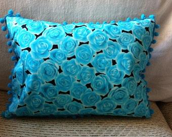 Bright Blue Rose Print Cushion