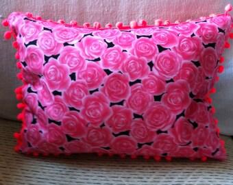 Bright Pink Rose Print Cushion