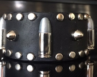 THE RANGER cuff bracelet in black leather w/ silver bullet conchos and silver studs, by Picasso Collars