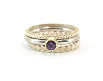 Amethyst ring, Silver, Gold 14 kt, stackable ring