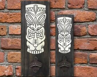 Tiki, Wall Mount Bottle Opener, Bar, Fathers Day Gift, Groomsmen Gift, Christmas Gift