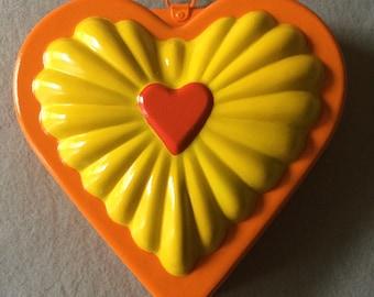 Orange and Yellow Heart Repurposed Vintage Jello Mold
