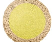 120cm Chartreuse Crochet Rug