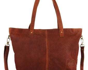 Leather Tote Handbag in Vintage Brown by MAHI Leather