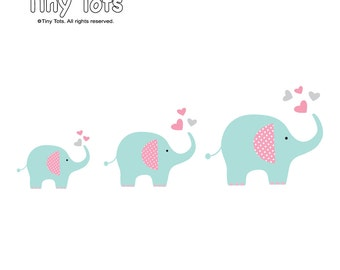 Vinyl Wall Decals-Elephant Wall Decals, Nursery Wall Decals, Wall Stickers, Children's Wall Decals