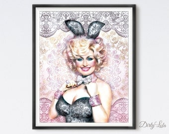 Dolly - Art Print - Illustration - Portrait - Painting- Portrait - Home Decor - Pop Art - Kitsch - Lace - Bunny