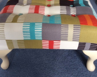 Checked multicoloured footstool