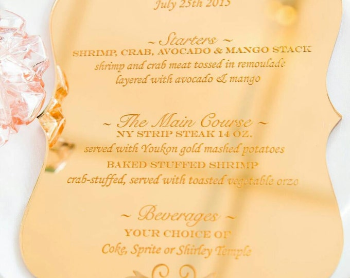Featured listing image: Laser Cut Etched Acrylic Menu, Wedding Decor, Party Decor, Perfect Weddings, Gold Wedding Decor, Acrylic Wedding Signs, Custom Decor