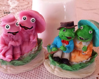 soap, mold, two frogs mold, silicone mold, molds, handmade mold, soap mold, mold for candle, mold for soap, 3d mold