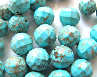 Turquoise beads, 20 beads, faceted beads, 9 to 10mm - #109