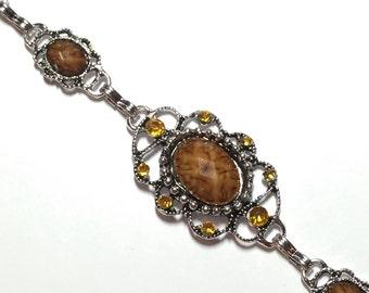 Brown Resin And Topaz Rhinestones Tibetan Silver Link Bracelet ON SALE