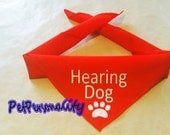 Hearing Dog Bandana with Paw Print, Choice of Colours and Sizes  White Vinyl Print