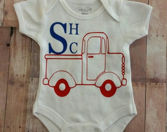 Personalized Baby Onesie Monogrammed or Name Truck Design