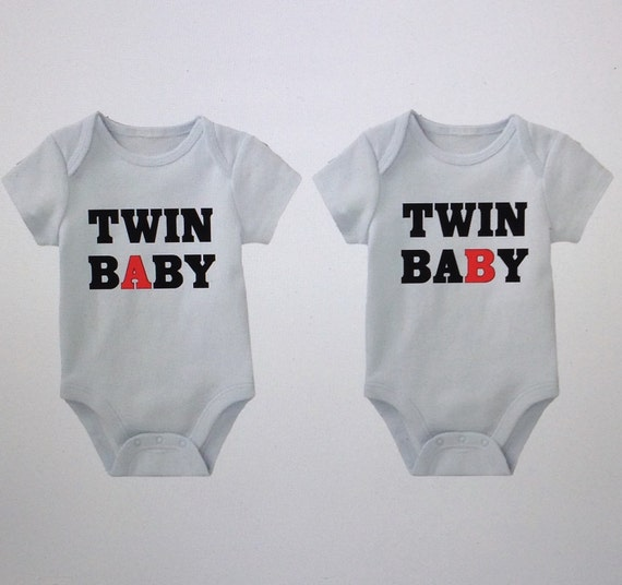 Twin Baby Girl Quotes: Twin Baby Onesies Twin A Twin B Funny Onesies By