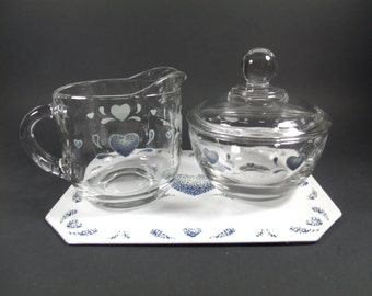 Cream and Sugar Set, Trivet, Blue Heart, Vintage Kitchen, Home Decor
