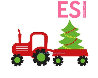 Truck and Christmas tree SVG, DXF, EPS, Christmas svg files, for use with Silhouette Studio & Cricut Design space.