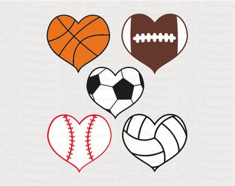 Sports svg files, Baseball heart svg, SVG, DXF, EPS, for use with Silhouette and Cricut Design Space. Football svg, soccer svg