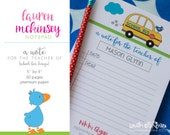 "Personalized ""A Note for the Teacher of"" School Bus Notepad by Lauren McKinsey. A Note from the Mom of. School Notepads."