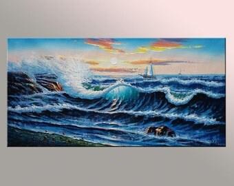 Ocean Oil Painting, Canvas Painting, Original Painting, Large Painting, Sail Boat Painting, Abstract Art, Wall Art Decor, Seascape Painting