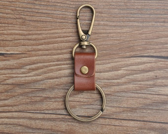 Sale 60% off Handcrafted vegetable tanned leather  keychain car key  holder key fob