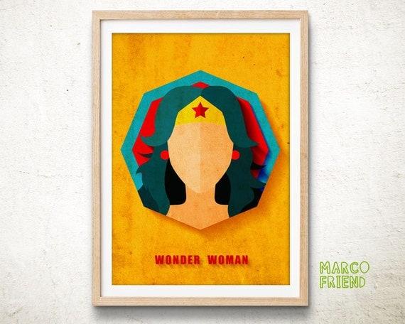 Wonder Woman Art Print Home Decor Superhero Wall By