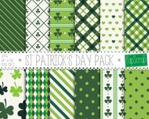 St Patricks Day Digital Paper Pack / Irish Digital Paper, St Patrick Day Decor, Printable St Patrick's Day Paper, Shamrock Green Patterns