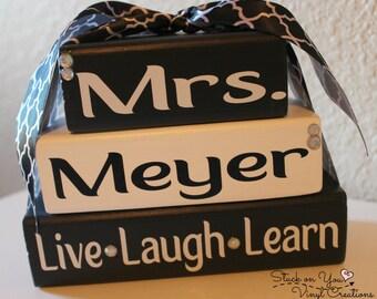 Personalized Teacher Name Stacker Blockes