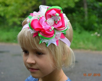 Hair bow Hair Clip Headband  for girls Baby Pink Green and White Stacked hair bow Boutique Girl hair accessory Layered Hair Bow