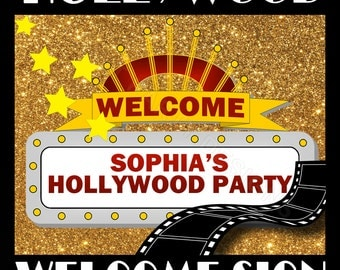 Hollywood Party- Hollywood Birthday, Hollywood Party Decorations, Hollywood Party- Welcome Sign, Hollywood Birthday