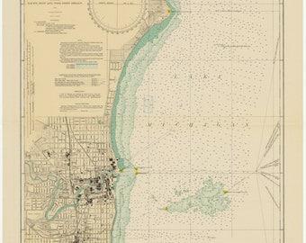 Lake Michigan - Racine Harbor Historical Map 1931