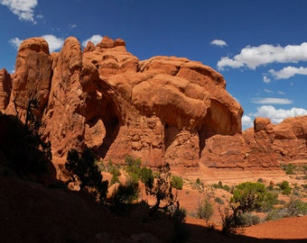 Arches Canyon Utah, Desert, Arch, Panorama, Desert, Trees, Clouds