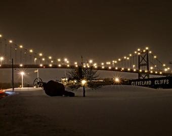 Toledo, Ohio, Bridge, Hi-Level, Willis Boyer, Cleveland, Maumee River, Snow, Winter, Buoy, Motion blur, Lights, International Park