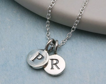 Double Initial Necklace, Sterling Silver Initials Necklace, Two Initial Personalized Necklace, Initial Jewelry, Customizable Jewelry
