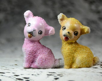 Vintage Puppy Pair/Sugar-Texture Made in Japan Ceramic Figurines. Collectible Dog Figurines. Gifts for Dog Lovers. #5258