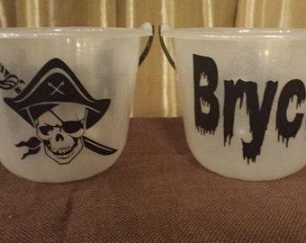 Personalized Glow in the Dark Halloween Bucket w/ Pirate Skull