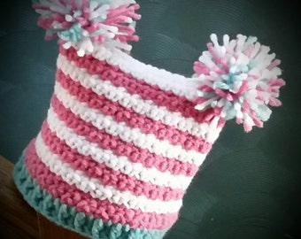 Adorable infant/toddler Pom Pom Hat