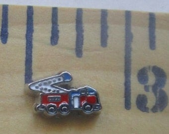 Red Firetruck charm for a living locket.  Three eights of an inch long.