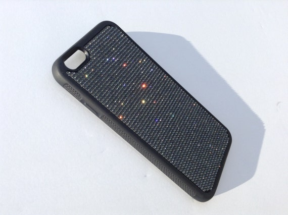 """iPhone 6 / 6s 4.7"""" Black Diamond Crystals on Black Rubber Case. Velvet/Silk Pouch Bag Included, Genuine Rangsee Crystal Cases."""