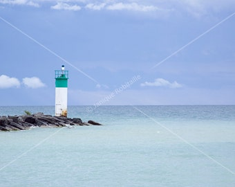 Photography photo waterscape lighthouse water blue turquoise holidays art deco poster