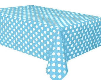 Disney Baby Mickey Mouse Baby Shower Table Cover Baby Blue with White Polka dot Table Cover Photo Booth back drop Decoration Cake Table