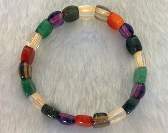 New Mutlicolored Natural Agate Gemstone Stretch Bracelet Jewelry