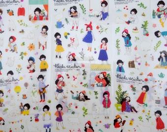 SIX pages Korean girl and animal stickers - cat - polar bear - white goose - north pole - zakka girls - kawaii - cute flowers - nature