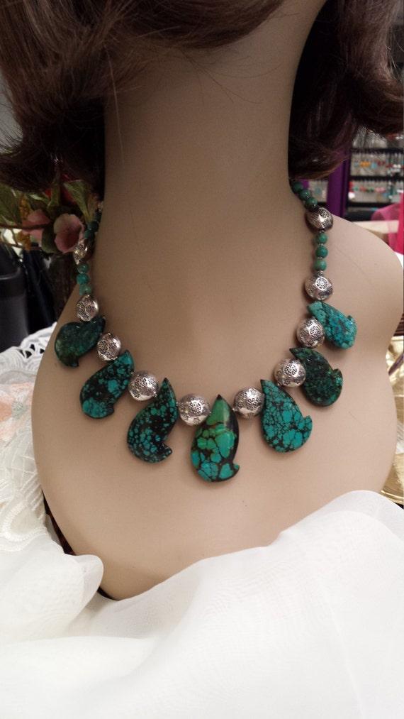 Turquoise sterling designer necklace