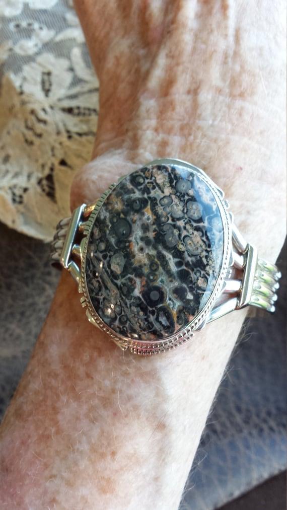 Sterling silver native American ocean jasper cuff bracelet