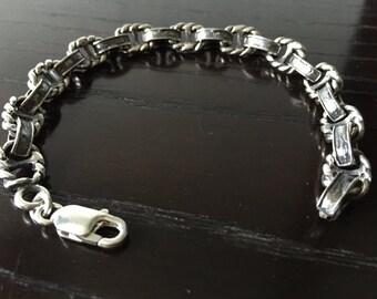 Mens .925 Sterling Silver Link bracelet craft handmade.